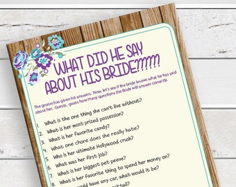What did he say about his Bride Shower Game, Rustic Bridal Shower Game, Instant Download, Couples Bridal Shower Game, D1755