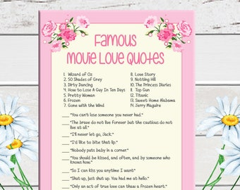 Pink, Movie Quotes, Bridal Shower Game, Pink Flowers, Movie Love Quotes, Instant Download, Couples Shower, Floral Theme,  D1173