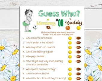 Guess Who Baby Shower Game, Sport Theme, Vintage Baby, Green Shower Game, Coed Baby Shower Game, D1035