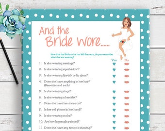 And the Bride Wore Bridal Shower Game, D160