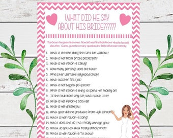 What did he say about his Bride, Bridal Shower Game, Wedding Shower Game, Coed Shower Game, D130