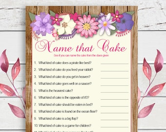 Name that Cake Bridal Shower Game, Cake Game, Rustic Wood, Floral Theme, Engagement Party, Wedding Shower Game, Couples Shower Game, D832