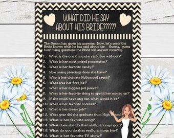 Chalkboard, What did he say Bridal Shower Game, Creme Chevron, Wedding Shower, Game Couples, Shower Game, Instant Download, D618