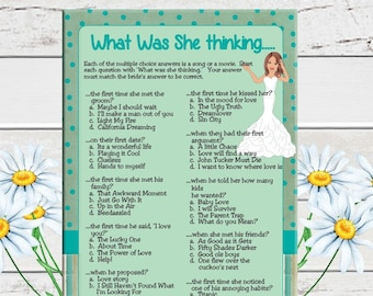 What Was She Thinking, Bridal Shower Game, Confused Bride, Wedding Shower Game, Engagement Party Game, Couples Shower Game, D603