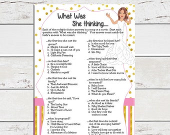 Gold, Bridal Shower Game, What was she thinking, Wedding Shower Game, Engagement Party, Couples Shower Game, D1563