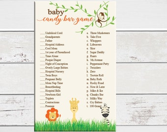 Candy Bar Baby Shower Game, Safari Baby Shower Game, D1728
