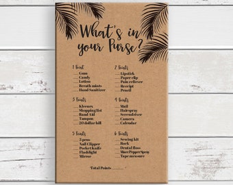 Purse Game, Bridal Shower Game, Kraft Paper, Leaf Theme, What's in your Purse, Wedding Shower Game, Bachelorette Game, D1714
