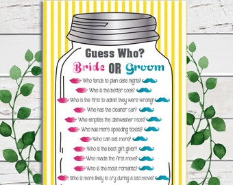 Guess Who Shower Game, Bridal Shower Game, Mason Jar, Yellow Stripes, Pink, Teal, Wedding Shower Game, Couples Shower Game, D553