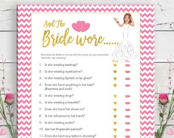 Gold And the Bride Wore Bridal Shower Game, Confused Bride, Pink Chevron, Gold Hearts, Pink Lips, Instant Download, Couples Shower, D822