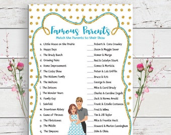 Famous Parents Baby Shower Game, Baby Shower Game, Baby Boy Shower Game, Gold Glitter, Couples Shower Game, D1333