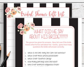PRINTED What did he say Bridal Shower Game, Printed Bridal Shower Games, Floral Bridal Shower Game, Couples Shower Game, D809P