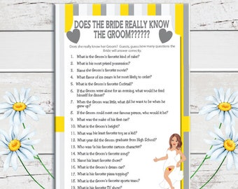Bride know the Groom Bridal Shower Game, Wedding Shower Game, Yellow Stripes, Gray Stripes, D782
