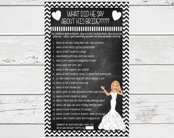 What did he say Bridal Shower Game, Confused Bride, Wedding Shower Game, White Chevron, Hearts, Instant Download, D672