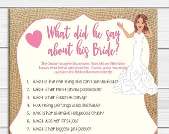 What did he say about his Bride, Bridal Shower Game, Burlap, Instant Download, Coed Shower Game, D1848