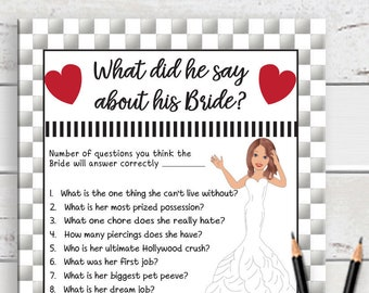 What did he say about his Bride, Bridal Shower Game, Silver Shower Game, Couples, Shower Game, Engagement Party Game, D642