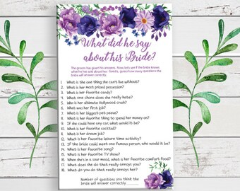 What did he say about his Bride, Bridal Shower Game, Coed Shower Game, D1741