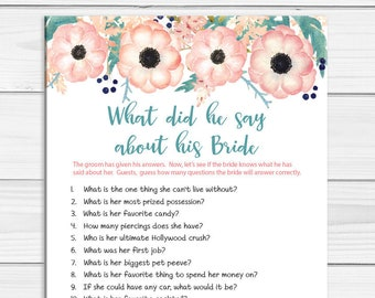 What did he say about his Bride, Wedding Shower Game, Bridal Shower Game, Peach Floral Couples Shower Game, D1832