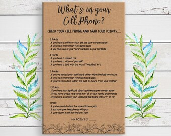 Cell Phone Game, Bridal Shower Game, Kraft Paper, What's in your Cell Phone, Wedding Shower Game, Bachelorette Game, Gift Tracker, D1665