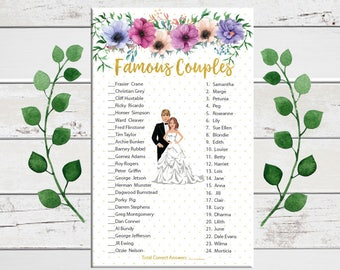 Famous Couples, Bridal Shower Game, Celebrity Couples, Floral Theme, Wedding Shower Game, Gold Shower Game, Couples Shower Game, D1550