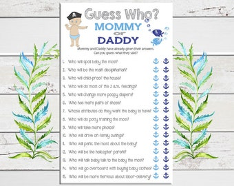 Guess Who Baby Shower Game, Pirate Theme, Nautical Theme, Baby Boy Shower, Blue, Coed Shower Game, D1614