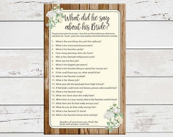 What did he say about his Bride, Bridal Shower Game, D1547