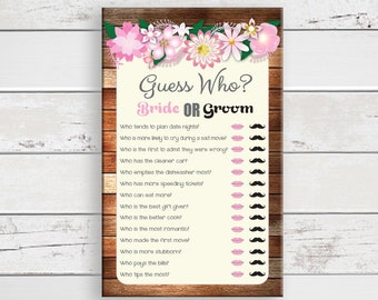 Guess Who Bridal Shower Game, Wedding Shower Games, Rustic Shower Game, D1100