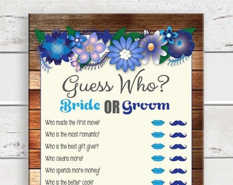 Guess Who Shower Game / Bridal Shower Game / Rustic Shower Game / Engagement Party Game / Couples Shower Game / D1043