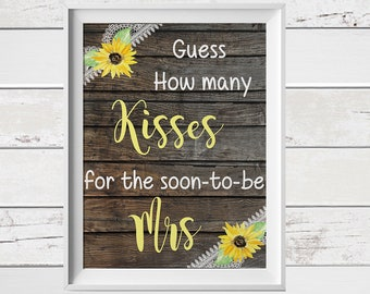 Guess how many Kisses for the Soon to be Mrs, Guess how many Kisses, Wood Background, Sunflower, How many Kisses in the Jar,  D1697