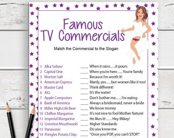 Famous TV Commercials . Bridal Shower Game . Sexy Bride, Instant Download . Wedding Shower Game . Couples Shower Game . D290