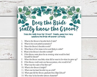 Does the Bride Know the Groom Bridal Shower Game, Wedding Shower Game, Couples Shower Game, Instant Download, D1810
