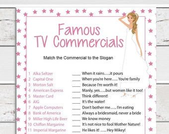 TV Commercial Bridal Shower Game, Wedding Shower Game, D447
