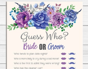 Guess Who Bridal Shower Game, Wedding Shower Game, Engagement Party Game, Floral Theme, Couples Shower Game, D1756