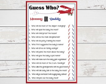 Guess Who Baby Shower Game,  Who Said It Baby Shower Game,  Blue Shower Game, Baby Boy Shower Game, Coed Baby Shower Game, D835