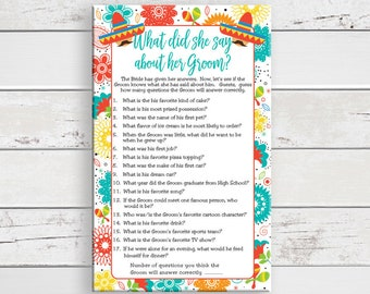 What did She Say, Bridal Shower Game, Mexican Fiesta Theme, Bride Know Groom, Instant Download, Couples Shower Game, D1711