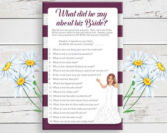 What did he say Bridal Shower Game, Wedding Shower Game, What did he say about his Bride, Instant Download, Couples Shower, D1584