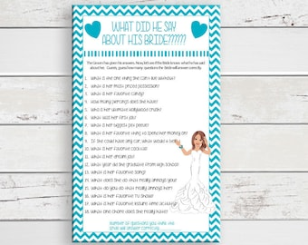 What did he say Bridal Shower Game, Wedding Shower Game, Teal-Blue Shower Game, Couples Shower Game, D419