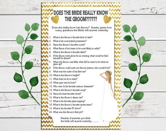 Bride know the Groom Bridal Shower Game, Gold Chevron, Gold, Confused Bride, Wedding Shower Game, Couples Shower Game, D561