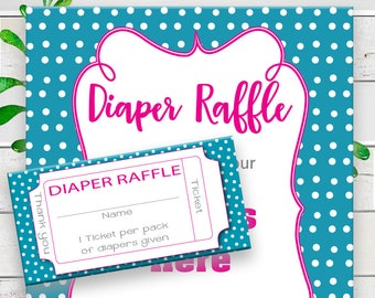 Diaper Raffle Baby Shower Game, Diaper Raffle Tickets, Gender Neutral Diaper Raffle, Diaper Raffle Sign, Pink Teal Diaper Raffle, D1157