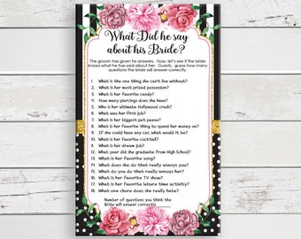 Bridal Shower Games, What did he say about his Bride, Gold Shower Game, Couples Shower Game, D1693