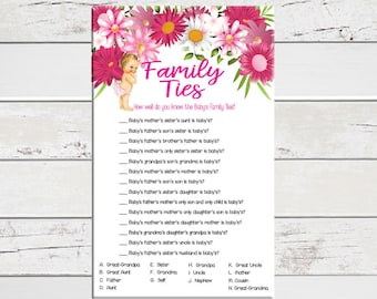 Family Ties Baby Shower Game, Girl Baby Shower, Floral Baby Shower, Couples Baby Shower, D1181