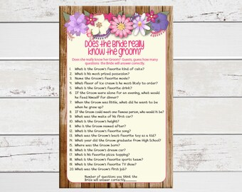 Bride Know Groom Bridal Shower Game, Floral Theme, Pink and Purple, Couples Shower Game, Engagement Party Game, D883
