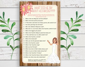 What did he Say about his Bride, Bridal Shower Game, Rustic Shower Game, D1424