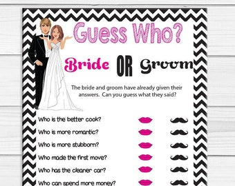 Guess Who Bridal Shower Game, Wedding Shower Game, Couples Shower Game, D1002