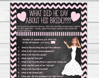What did he say about his Bride, Bridal Shower Game, Chalkboard, Wedding Shower Game, Couples Shower Game, D1123