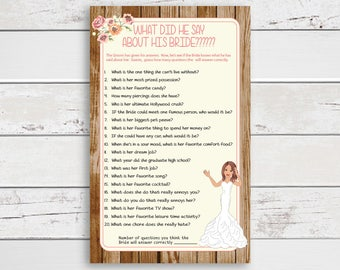 What did he say about his Bride, Wedding Shower Game, Bridal Shower Game, Rustic Wood, Peach Flowers, Bride, Couples Shower, D1488