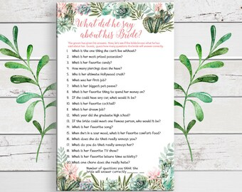 What did he say about his Bride, Bridal Shower Game, Succulents Bridal Shower Game, D1747