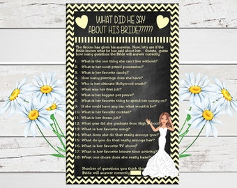 What did he Say Bridal Shower Game, Chalkboard, Yellow Chevron, Wedding Shower Game, Couples Shower Game, D615