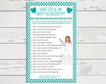 Teal What Did He Say About His Bride, Bridal Shower Game, Wedding Shower Game, Confused Bride, Couples Shower Game, D504
