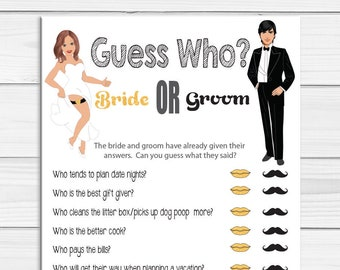 Guess Who Bridal Shower Game, Wedding Shower Game, Couples Shower Game, Gold and Black Shower Game, D425