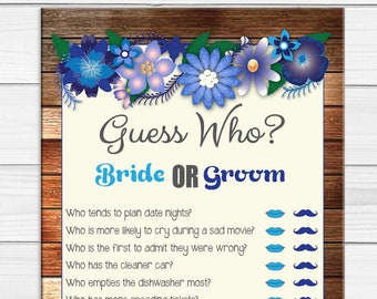Guess Who Bridal Shower Game / Rustic Shower Games / Coed Shower Game / Engagement Party Game / Floral Bridal Shower / D1043
